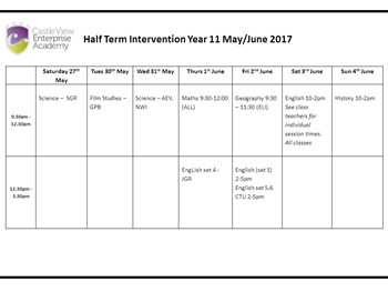 Year 11 Half Term Booster Timetable