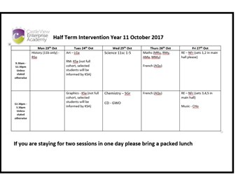 Year 11 October Half Term Intervention
