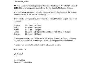 Monday 8th January - Year 11 Letter