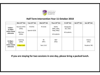 October Intervention Programme 2018