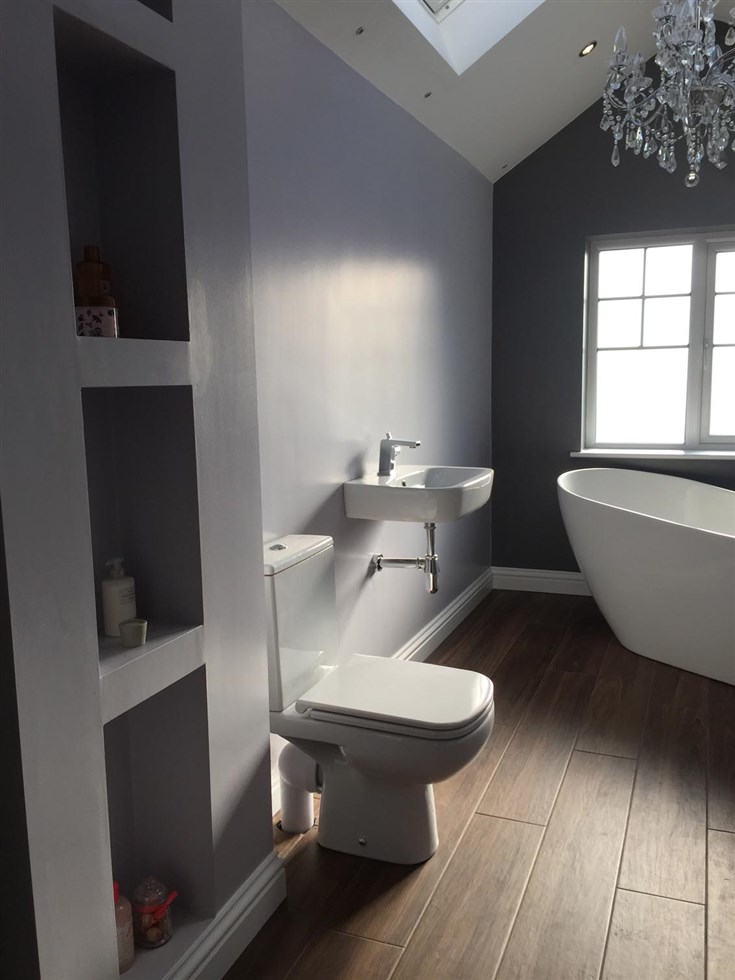 Old Bathroom Knock Out. New Extension Creating Larger Room. New Bathroom  Fitted.