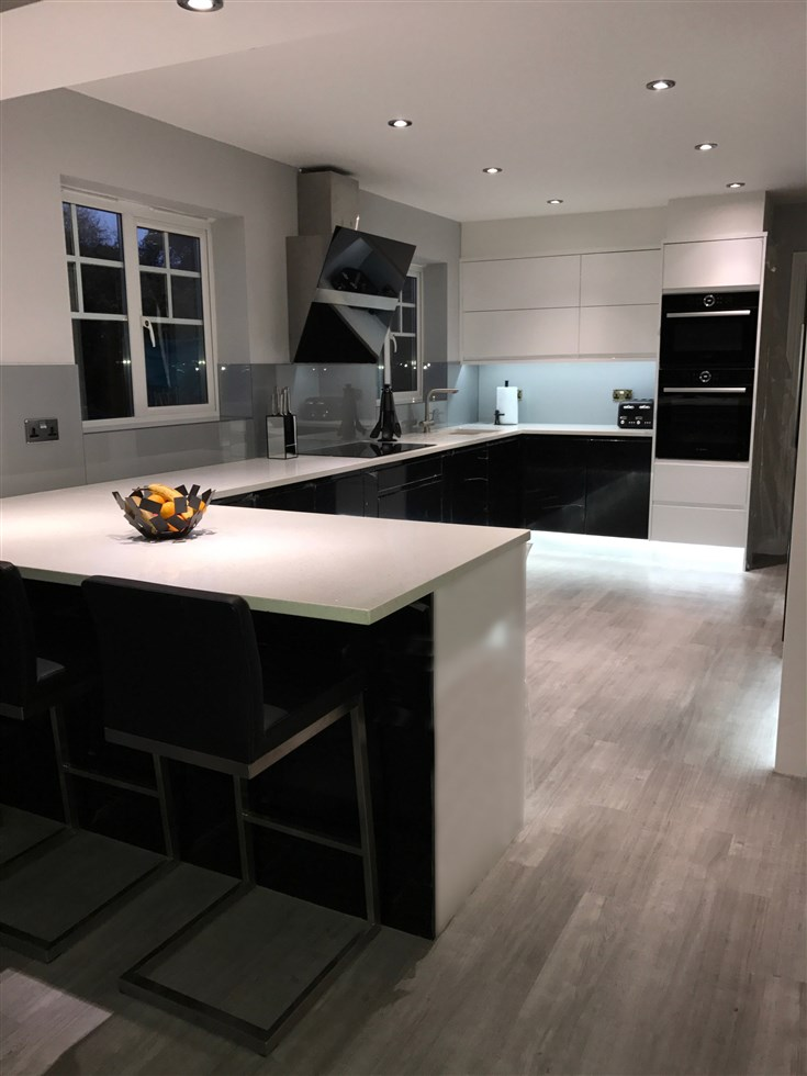 Kitchen Dining Room Knocked Through Into One Black White Handleless Gloss Quartz Worktop Grey Glass Splashback Also New Utility Fitted
