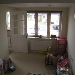 Garage conversion into playroom